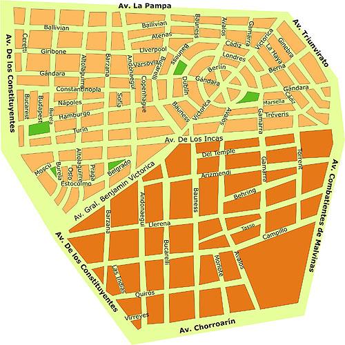 Mapa del barrio Parque Chas